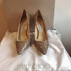 💯Auth. Jimmy Choo Romy 100 Glitter Pumps Pink 39